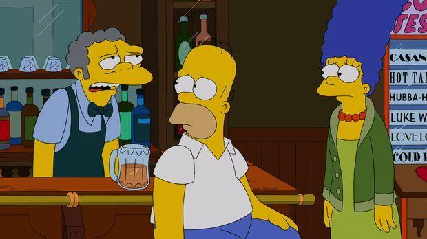 Moe (l.) ist mal wieder frustriert und versucht, Selbstmord zu begehen. Im le...