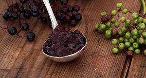Eingekocht sind Holunderbeeren gut bekömmlich. Marmelade und Kompott sind nur...