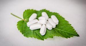 Tabletten auf einem Minzblatt