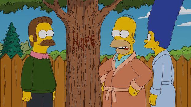 Mein Freund, der Wunderbaum: Ned Flanders (l.), Homer (M.) und Marge (r.) ......