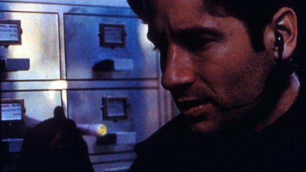 Mulder (David Duchovny) dringt in das Lombard-Forschungsinstitut ein,  um wic...