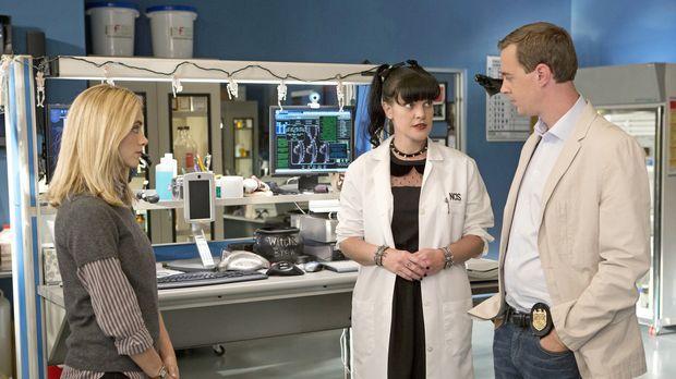 Ein neuer Fall wartet auf McGee (Sean Murray, r.), Abby (Pauley Perrette, M.)...