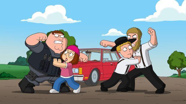 Die Liebe von Meg (2.v.l.) und Eli (2.v.r.) sorgt bei ihren Vätern für einige...