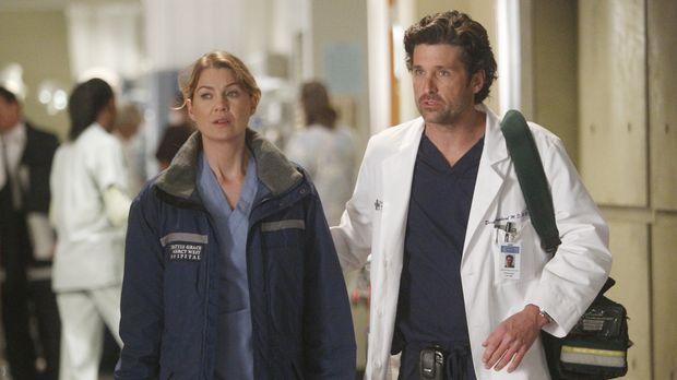 Während Meredith (Ellen Pompeo, l.) und Derek (Patrick Dempsey, r.) endlich N...