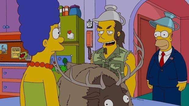 Zu Besuch bei Homer (r.) und Marge (l.): Rockmusiker Ted Nugent (M.) ... © un...