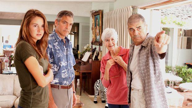 Gemeinsam mit seinen Töchtern und Alexandras (Shailene Woodley, l.) Freund ma...