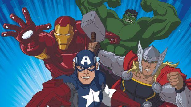 (1. Staffel) - Im Kampf gegen das Böse: Iron Man (l.), Captain America (2.v.l...