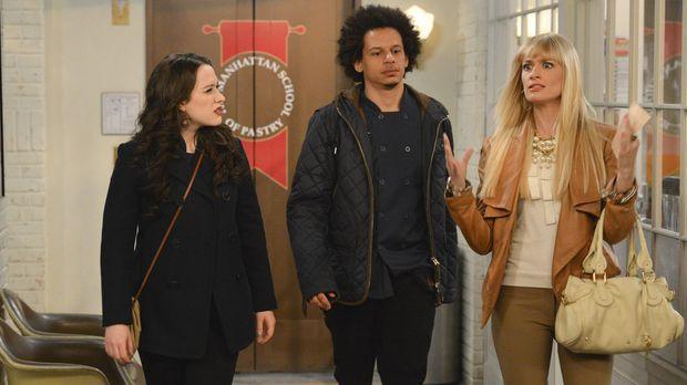Deke (Eric Andre, M.) lädt Max (Kat Dennings, l.) und Caroline (Beth Behrs, r...