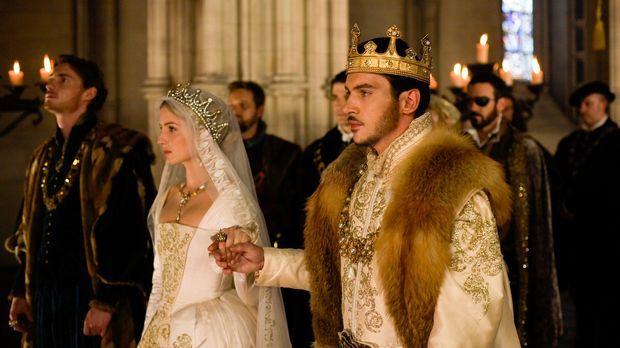 Während König Henry VIII (Jonathan Rhys Meyers, r.) und sein Gemahlin Jane (A...