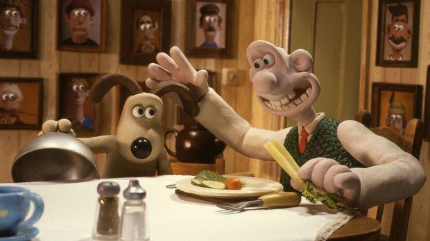 Der liebenswerte Erfinder Wallace (r.) ist stolz auf seinen Hund Gromit (l.),...
