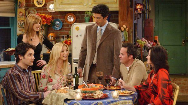 Rachel (Jennifer Aniston, 2.v.l.), Ross (David Schwimmer, 3.v.r.), Chandler (...