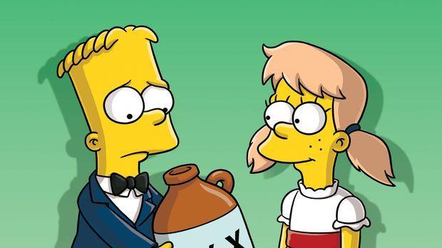Als Marge und Homer von Barts (l.) Verlobung mit Mary (r.) hören, müssen sie...