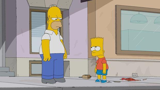 Eigentlich hat Homer (l.) Bart (r.) verboten, jemals wieder Streiche spielen....