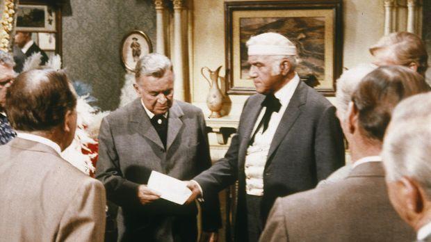 Der reiche Sam Endicott (Sidney Blackmer, M. l.) will seinen Vertrauen, John...