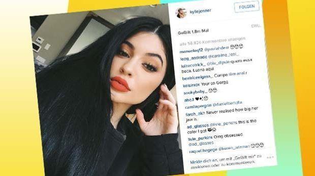 Kylie Jenner macht die #trexhands auf Instagram