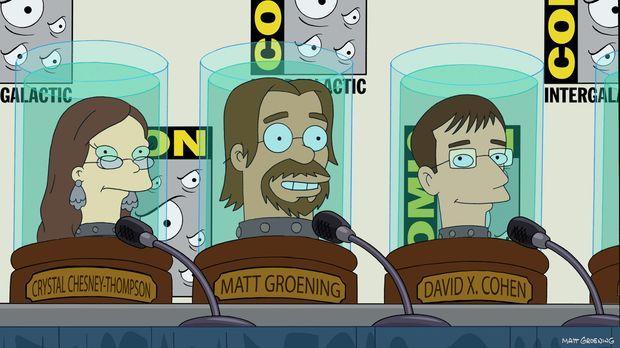Welche Rolle spielen Crystal Chesney-Thompson (l.), Matt Groening (M.) und Da...