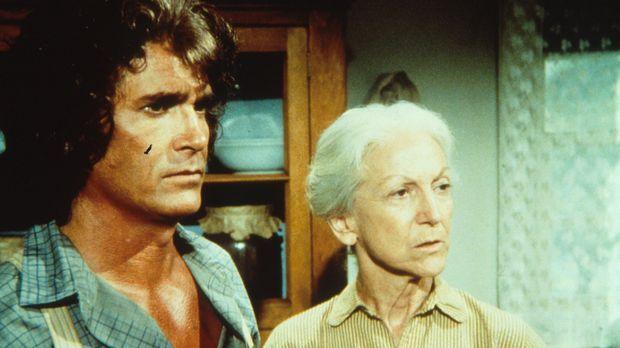 Charles Ingalls (Michael Landon, l.) erzählt Virginia Davenport (Susan French...