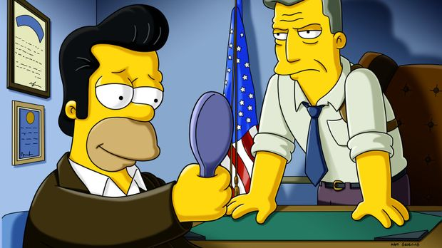 Ein FBI-Agent (r.) gibt Homer (l.) letzte Anweisungen für seinen bevorstehend...