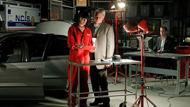 Versuchen einen neuen Fall zu lösen: Gibbs (Mark Harmon, M.), Abby (Pauley Pe...