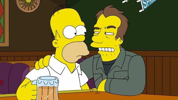 Nach einem Gespräch mit einem Unbekannten (r.) in Moes Taverne ist Homer (l.)...