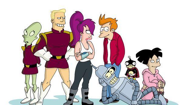 (7. Staffel) - Futurama - New York und die Welt im Jahr 3000: (v.l.n.r.) Kiff...
