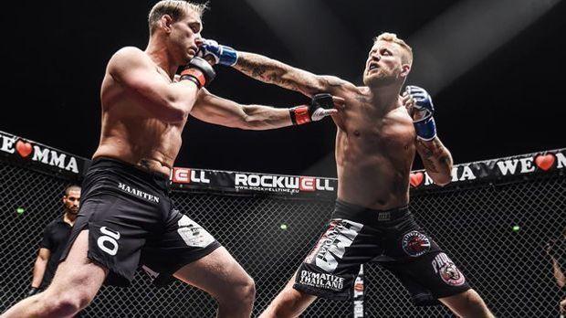 Mario Wittmann (re.) will sich bei We Love MMA den Titel im Mittelgewicht sic...