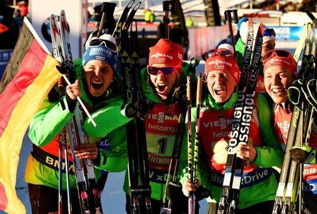 Die deutschen Biathlon-Damen holen Gold in Hochfilzen