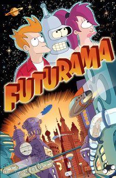 Futurama - (2. Staffel) - Fry (l.) erkundet mit seinen Freunden Leela (r.) un...
