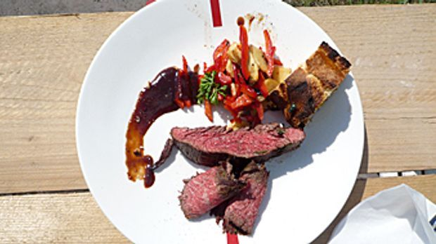 Flank-Steak-an-Champignon-Paprika-Gemüse