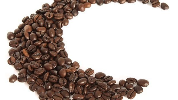 Kaffeebohnen im Halbkreis