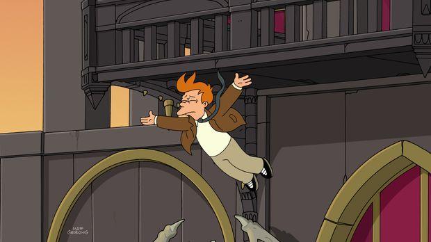 Als Fry um Leelas Hand anhalten möchte, stürzt er vom Vampire State Building....