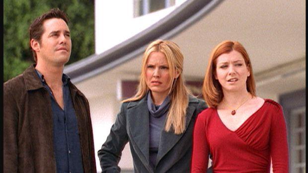 Xander (Nicholas Brendon, l.), Anya (Emma Caulfield, M.) und Willow (Alyson H...